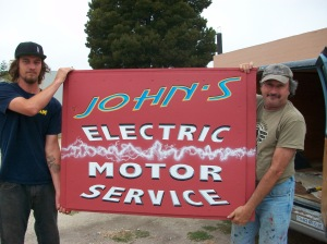 Peter and Will with the new sign